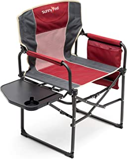 SUNNYFEEL Camping Director Chair, Heavy Duty, Portable Folding Chair with Side Table, Pocket, Handle for Beach/Fishing/Out...