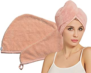 HOPESHINE Hair Drying Towels Microfiber Soft Twist Hair Turban Wrap Fast Drying Cap Great Gift for Women (MistyRose)
