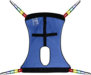 Full Body Patient Lift Sling, Mesh with Commode Cutout, Medium (Blue)