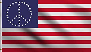 DMSE USA World Peace Symbol United States Stars and Stripes United States Flag 3X5 Ft Foot 100% Polyester 100D Flag UV Resistant (3' X 5' Ft Foot)