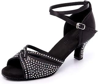 Women's Professional Rhinestone Ballroom Dance Shoes Latin Salsa Performance Dance Shoes Wedding Dancing Shoes