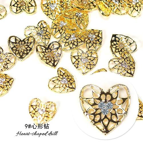 10pcs Gold Silver Metal Drill Crystal Decorative Nail Art Rhinestones Star Alloy 3d Charms Decorations Glitter