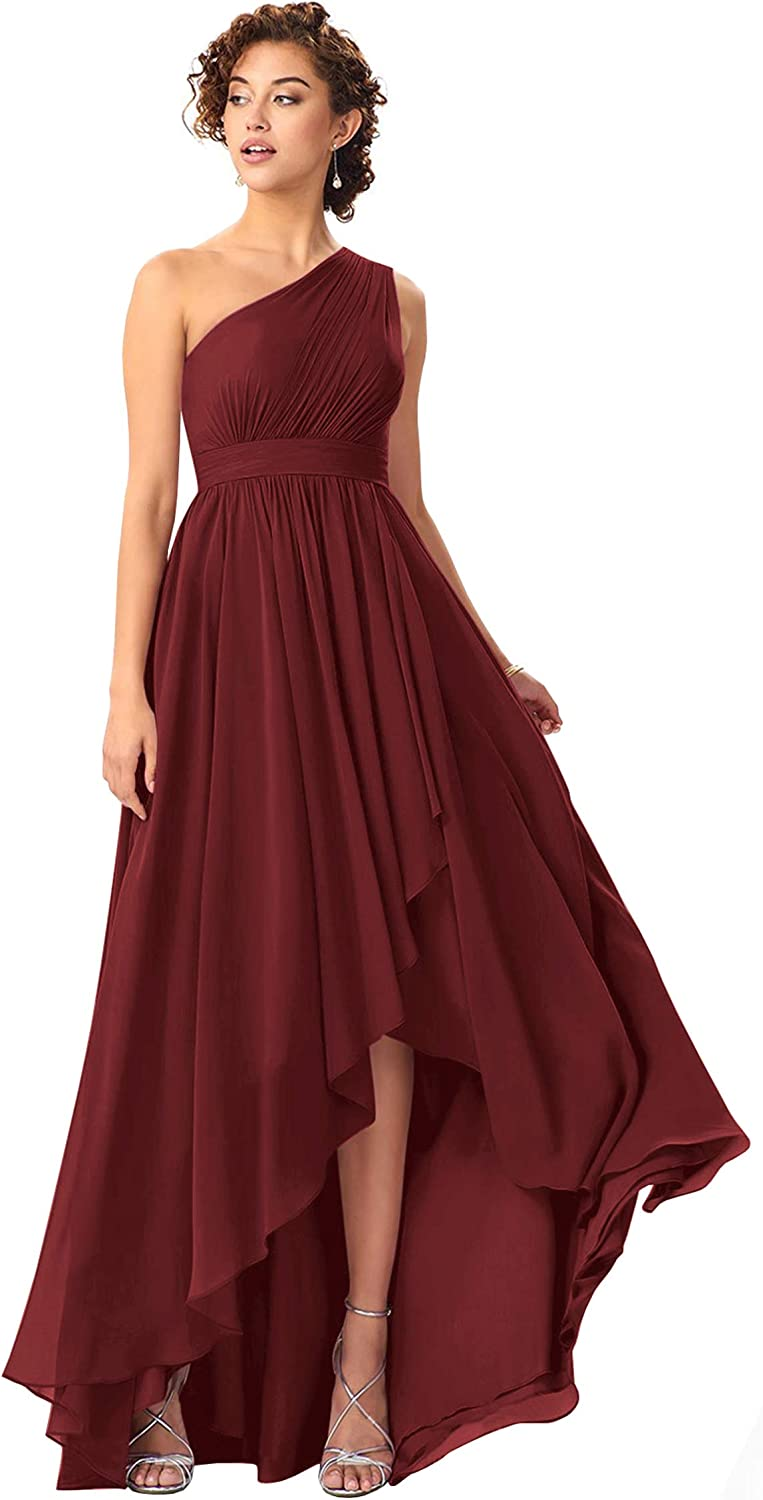 ZMOVQA Women's One Shoulder High Low Bridesmaid Dress Long A Line Chiffon Formal Evening Gown with Pockets