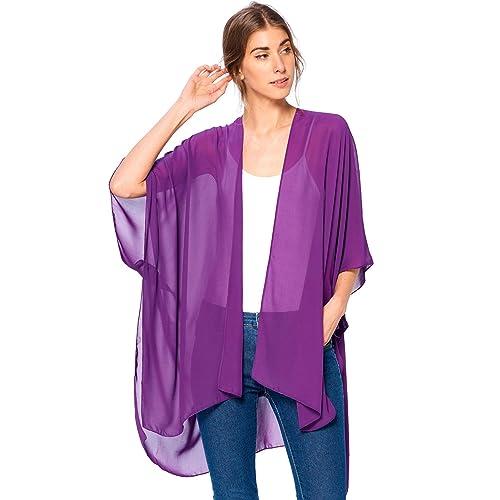e333f9a287e Modern Kiwi Solid Sheer Chiffon Kimono Cardigan