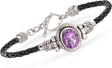 Ross-Simons 2.50 Carat Amethyst and Black Leather Toggle Bracelet in Sterling Silver