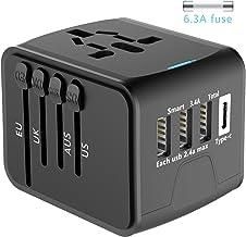 EXTSUD Universal Reiseadapter Reisestecker mit 3 USB Ports und Type C International Ladegerät Sicherheit AC Steckdose mit Ersatz Sicherung für Weltweit Reisen in US,UK,EU,AU,Asien Über 170 Ländern