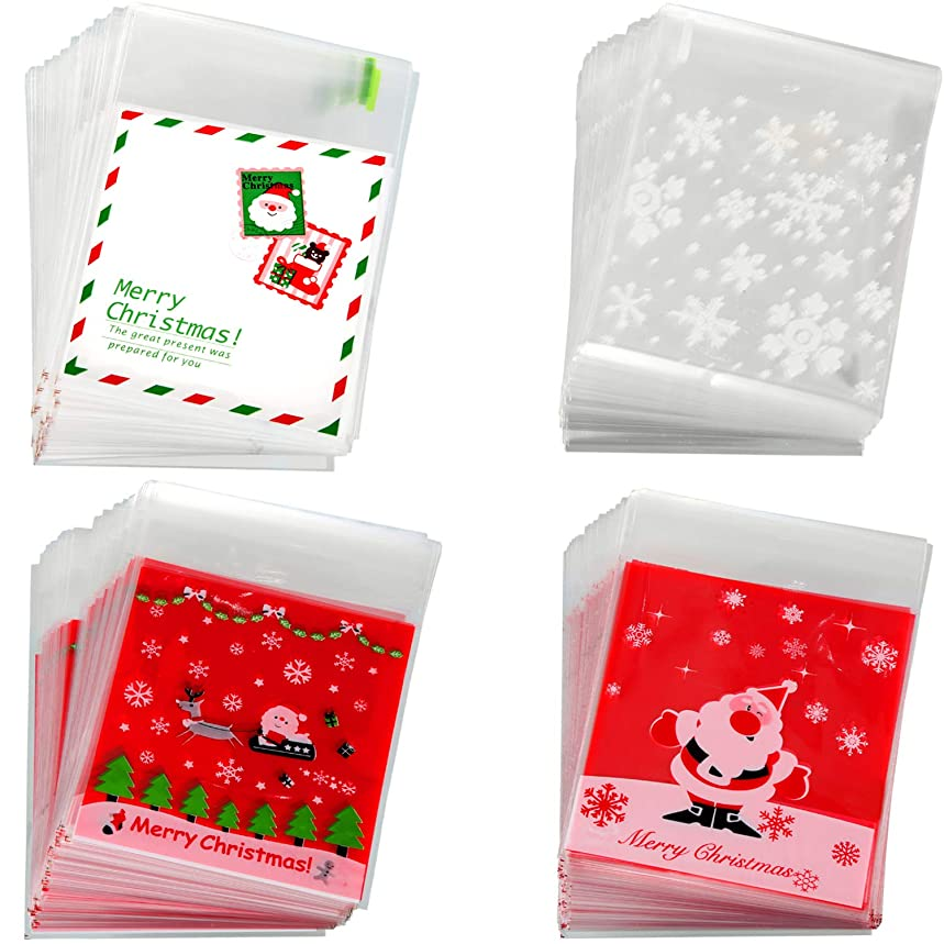 Tatuo 400 Pieces Christmas Candy Bags Cellophane Treat Bags Self Adhesive Bags Cookie Bags for Christmas Themed Party Supplies, 4 Styles