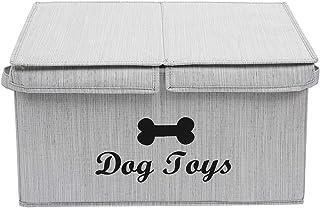 Geyecete Grandes boîtes de rangement – Grand cube de rangement pliable en tissu de lin avec couvercle / avec compartiment ...