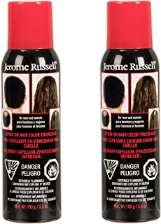 Jerome Russell Spray-On Color Black Hair Thickener 3.5 Ounce (103ml) (2 Pack)