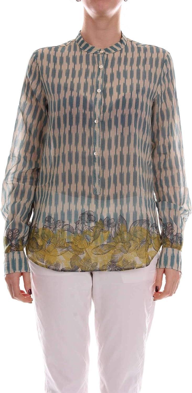 FORTE FORTE Women's 5408BISBEIGEEgreenACQUA Beige Silk Shirt