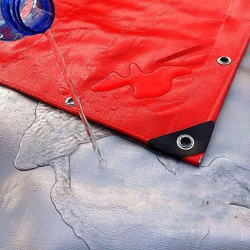 Bache GNAWOX (Rouge + Argenté) Résistante Heavy Duty, Polyvalente Imperméable De PE pour La Couverture De Remorque De Tente De Sol (Taille   7x8m)