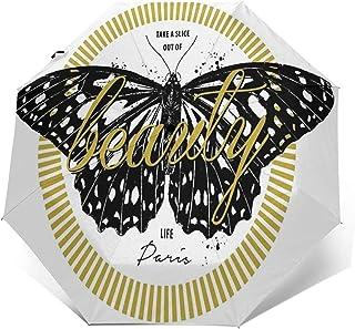 Paraguas Plegable Automático Impermeable Mariposa con Lema Plateado, Paraguas De Viaje Compacto a Prueba De Viento, Foldin...