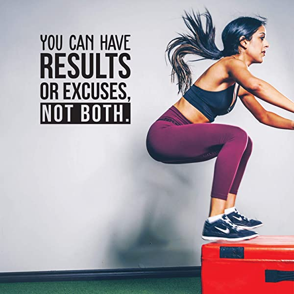 Vinyl Wall Art Decal You Can Have Results Or Excuses Not Both 22 X 22 Modern Motivational Quote For Home Gym Office Workplace Fitness Center Decoration Sticker