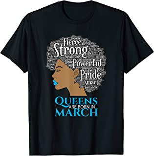 Queens Are Born In March Birthday Shirt Black Women T-Shirt