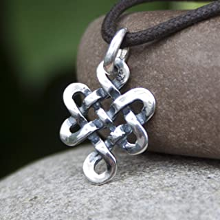 Tibetan Endless Knot Necklace Infinite Celtic Irish Love Knot Pendant Mystic Buddhist Amulet Wiccan Nepal Jewelry for Men Women Yoga Lover Gift/Handmade 925 Sterling Silver