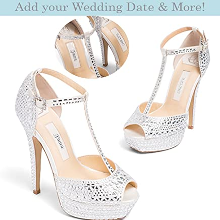 32b43a16f Bridal Women's Platform High Heel Satin Wedding Shoe with Rhinestone  Encrusted Heel in Ivory– Kate