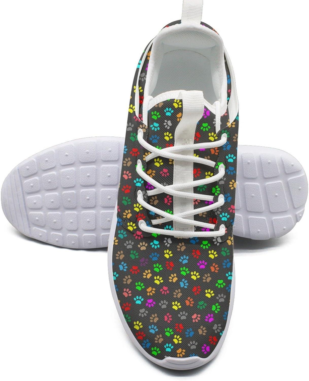 ERSER Colourful Cats Footprint Black Background Bright Running shoes Women
