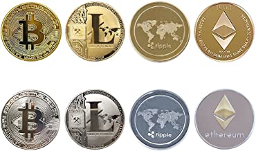 JARAGAR Cryptocurrency Gift Set, 8PCS Bitcoin (BTC) Litecoin (LTC) Ripple (XRP) Ethereum(ETH) Gold & Silver Coins Bitcoin Coin Collectors Set for Crypto Fans