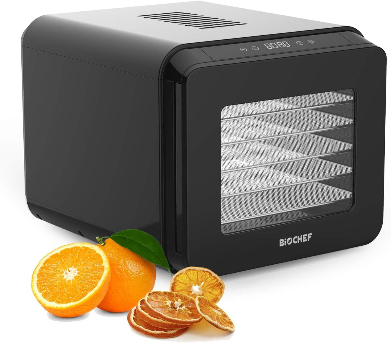 Bio Chef Deshidratador de Alimentos Tanami 6 Bandejas - 35-70°C | Pantalla Digital | Temporizador de 72 Horas | Puerta Transparente | Bandejas de Acero Inoxidable Extraíbles | Sin BPA (Negro)