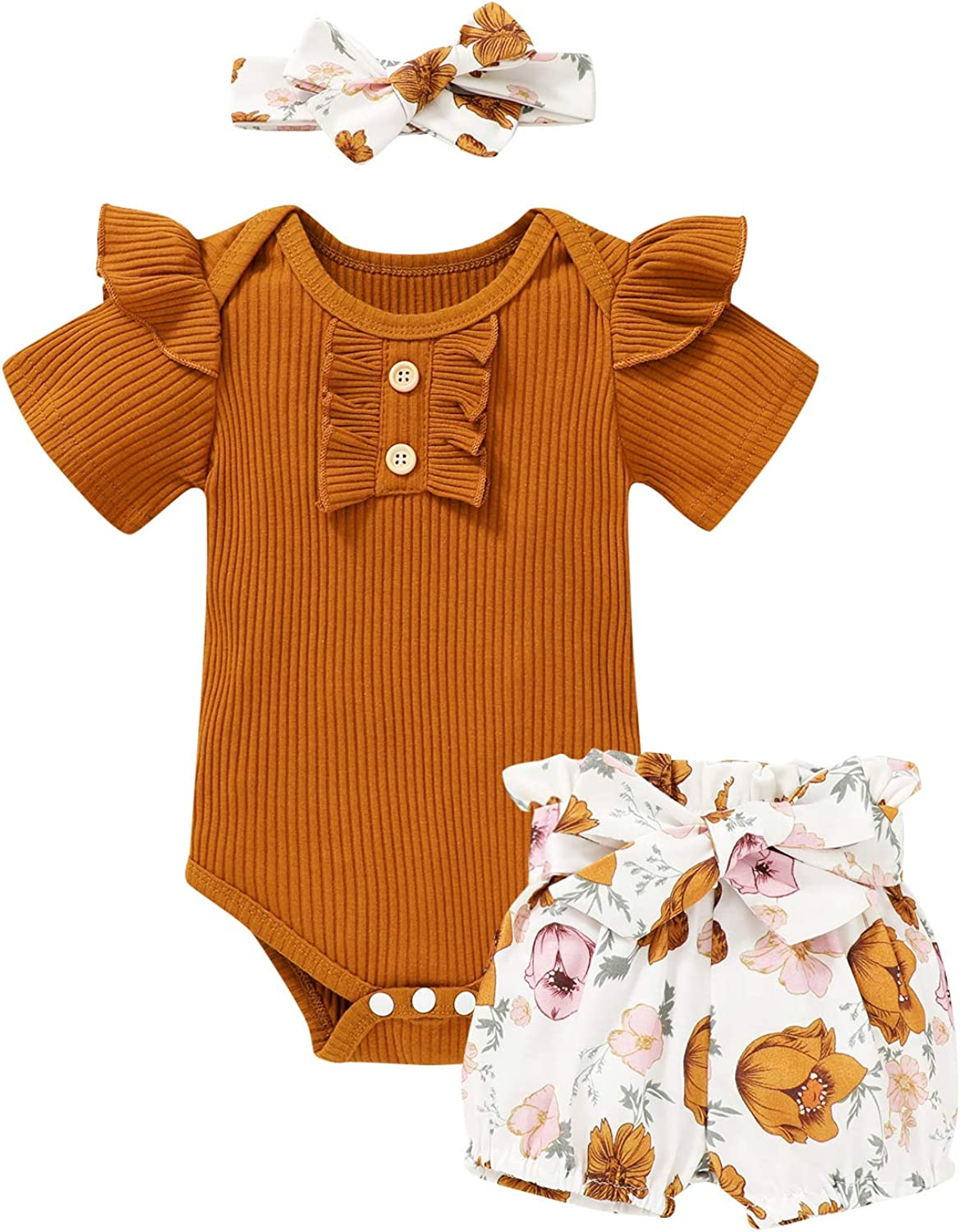 Infant Girl Clothes Short Sleeve Ruffle Romper and Floral Shorts Baby Girl Summer Clothes
