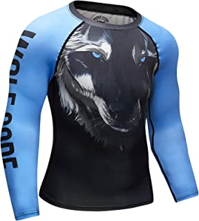 Wolf Code Fightwear Compression Training Long Sleeve Rash Guard for BJJ, MMA, Wrestling, Nogi Grappling
