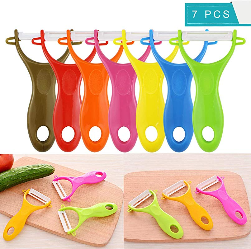 Faxco 7 Pack Colorful Ceramic Fruit And Vegetable Peeler Advanced Ceramic Peeler Set Potato Y Peeler