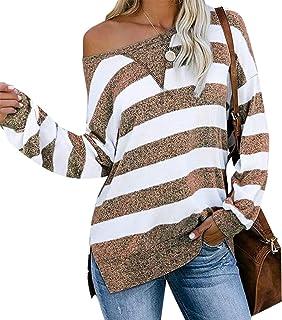 Womens Casual Side Split Color Block Stripes Long Sleeve Loose Shirt T Shirt
