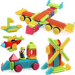FlyCreat ブロック ほのぼのペタペタブロック ビルディングブロック 80ピース 積み木 立体パズル ブリストルブロック 学習玩具 建物おもちゃ 想像力創造力を育てる モデルDIY おもちゃ 組み立て はめ込み はずす セット 赤ちゃん 子供 男の子 女の子 贈り物 誕生日プレゼント 出産祝い 入園