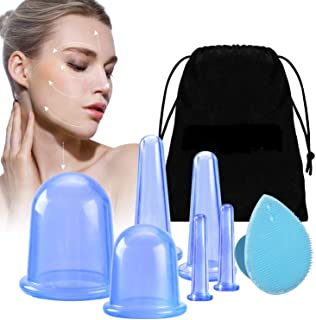 Complete Cupping Therapy Set, Anti Cellulite Cups with Body Cups, Face Cupping, Eye Cups, and Exfoliating Silicone face Br...
