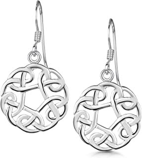 Amberta 925 Sterling Silver - Celtic Knot Earrings for Women - Various Types - Irish Design