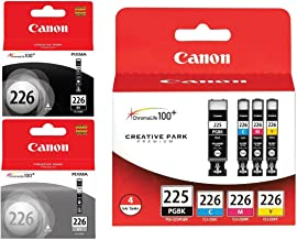 Genuine Canon PGI-225/CLI-226 Ink Tank Combo Pack (4530B008) + Canon CLI-226 Black Ink Tank (4546B001) + Canon CLI-226 Gray Ink Tank (4550B001)