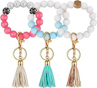 3 Pieces Silicone Beaded Keychain Key Ring Bracelet with Faux Leather Tassel Elastic Wristlet Keychain Beaded Bangle Keys ...