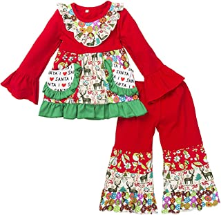 Girl Boutique Clothing Set Christmas Long Sleeve Dress and Pants