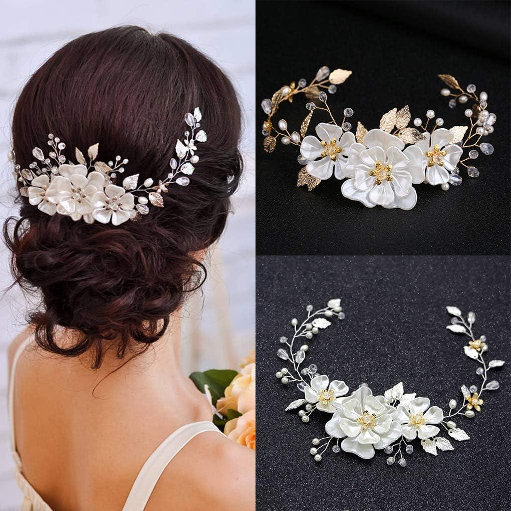 niumanery Hair Band Flower Leaves Bride Wedding Headband Crystal Women Jewelry Accessories Gold