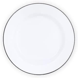 Enamelware Buffet Plate, 12 inch, Vintage White/Grey (Set of 4)