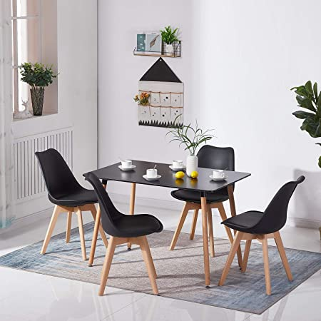 H.J WeDoo Table Salle à Manger Rectangulaire Scandinave Design Bois pour 4 a 6 Personnes Noir 110 x 70 x73 cm (Table Seulement)
