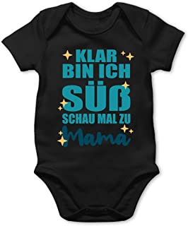 Shirtracer Sprüche Baby - Klar Bin ich süß - Blau - Baby Body Kurzarm für Jungen und Mädchen