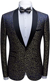 Men's Fashion Gradient Pattern Tuxedos Jacket One Button Shawl Lapel Blazer Slim Fit Prom Party Coat Performence Coat