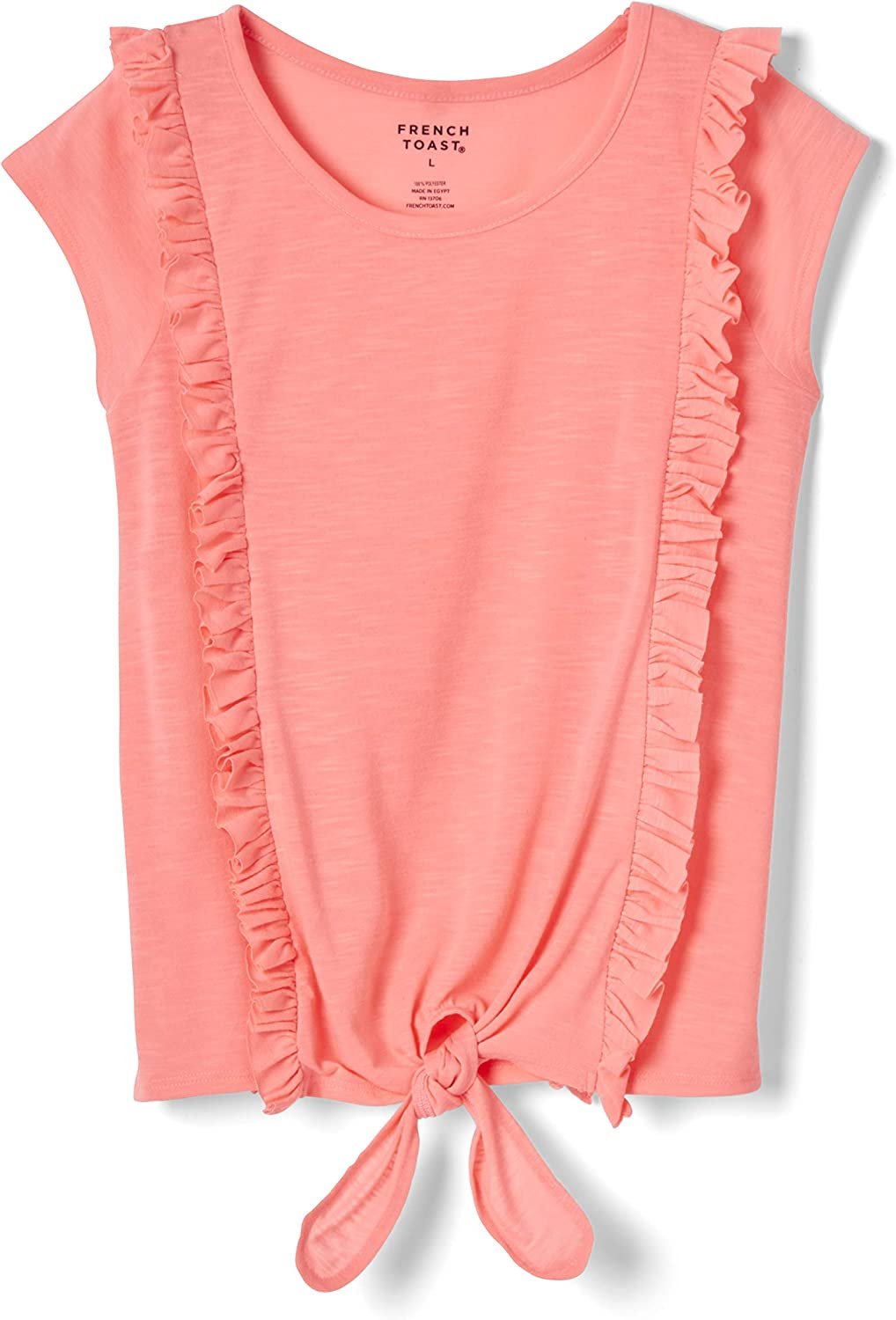 French Toast Girls' Super popular specialty store Recommended Short Sleeve Front Tee Shirt Ruffle Tie