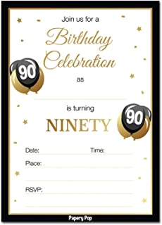 90th Birthday Invitations with Envelopes (30 Count) - 90 Ninety Year Old Anniversary Party Celebration Invites Cards
