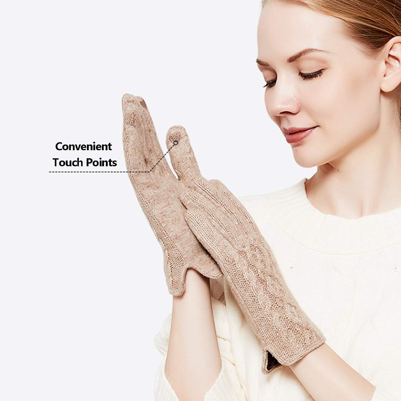 FOLDING Gloves Women's Knitted and Velvet Padded Lining Non-Slip Touch Screen Texting Gloves (Color : Gray)