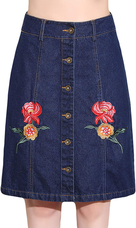 CHARTOU Women's Lovely Embroidered Button Down Denim Jeans Short Mini Skirt