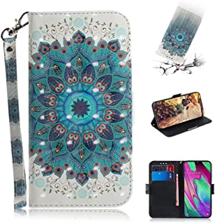EnjoyCase Wallet Case for Samsung Galaxy A20/30,3D Effect Blue Peacock Feather Flower Pattern Pu Leather Cover ID Card Hol...