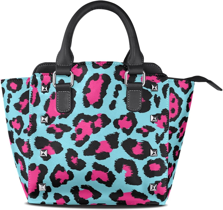 My Little Nest Women's Top Handle Satchel Handbag Beautiful Leopard Print Ladies PU Leather Shoulder Bag Crossbody Bag
