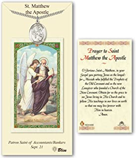 Pewter Saint Matthew the Apostle Medal with Laminated Holy Prayer Card