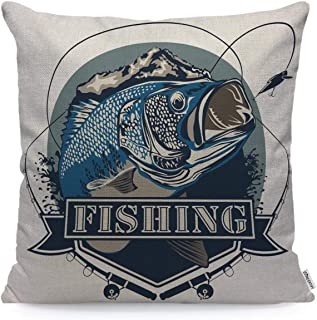 WONDERTIFY Throw Pillow Case Cover Bass Fish Perch Fishing Hunting Camping Wild Lake Water - Soft Linen Pillow Case for Decorative Bedroom/Livingroom/Sofa/Farm House - Cushion Covers 18x18 Inch