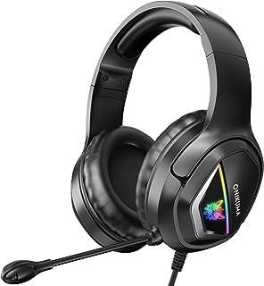 PANFREY Audífonos Gamer Auriculares para Juegos, Sonido Envolvente con luz LED para PS4/PS2/PC/Mac/Xbox One, Micrófono omnidireccional con reducción de Ruido