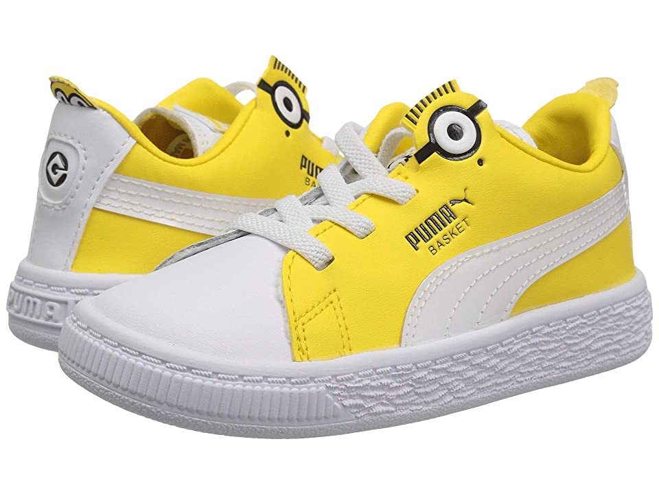 Puma Kids Minions Basket BS AC (Toddler) (Puma White/Puma Black/Dandelion) Kid