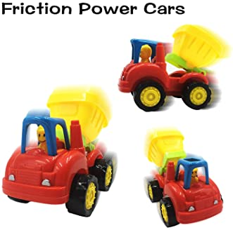 Scientoy Toy Cars, 7 pcs Construction Vehicles, Friction Power Cars Set for Kids, Excavator, Bulldozer,Tractor, Dump ...
