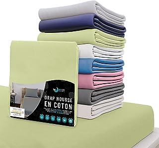 Dreamzie - Drap Housse 140x190 cm - 100% Coton Jersey Certifié Oeko-TEX® - Vert - pour Matelas 140 x 190 x 22 cm avec Gran...